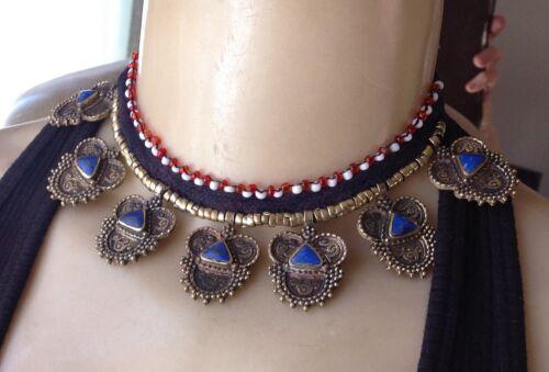 Vintage Necklace Afghan Lapis Collar Tribal Handmade Boho Jewelry