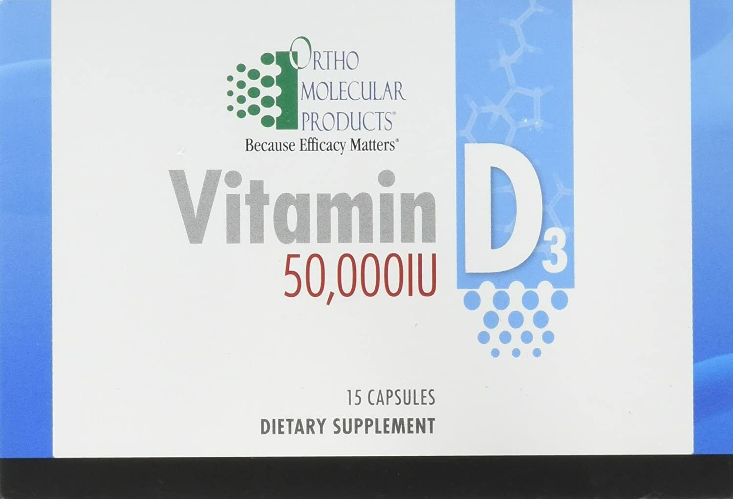 Ortho Molecular - Vitamin D3 50,000 IU - 15 Caps Blister Pack. Ships in 24 hours