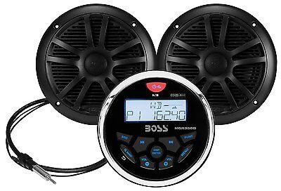 Boss Audio MCKGB350B.6 Combo Marine Gauge Radio /Antenna & Speakers Pair Black