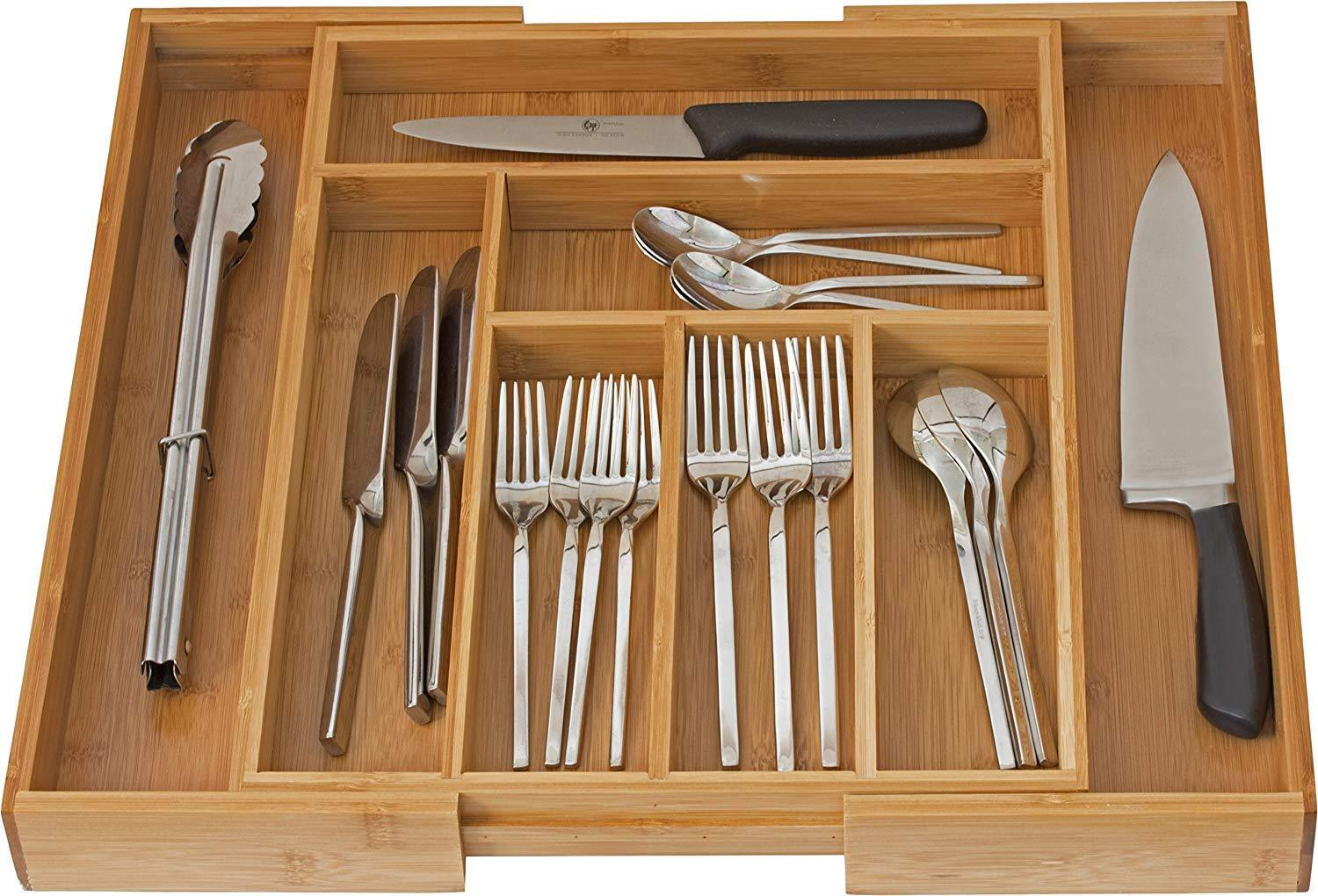 Expandable Cutlery Flatware Drawer Utensil Tray Kitchen Organizer Storage Bamboo