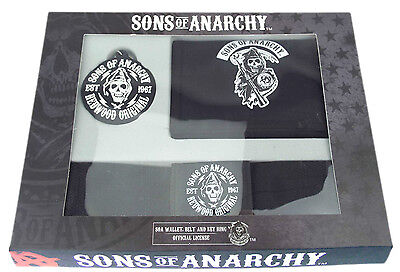 SONS OF ANARCHY GIFT SET - WALLET - BELT - KEYRING - ONE SIZE (98-S1)