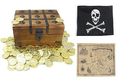 Large Wooden Treasure Chest Box Toy Plastic Gold Coins Pirate Flag - Wooden Treasure Chest Box