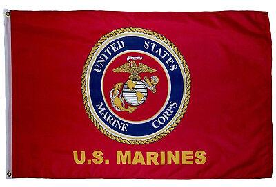 3x5 US USMC Official Logo Marine Marines Corps Flag 3'x5' Ba