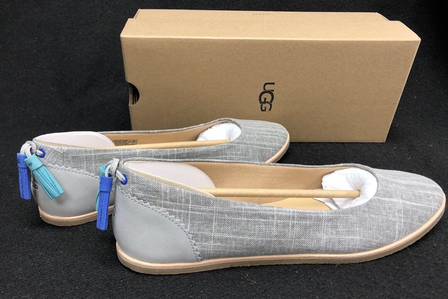 Ugg Australia Mesa Tassel Flats 1018631 Seal Slip On Canvas Nubuck Women's Shoe