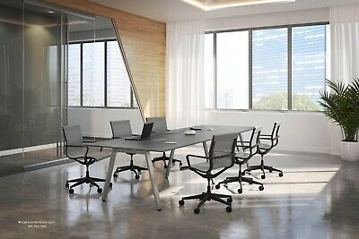8ft Foot Conference Table With Modern V Shaped Metal Legs White Gray Many Colors