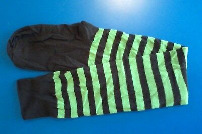 Ladies STOCKINGS - stretchy Lycra-Cotton - Green & Black Stripe Socks - NEW