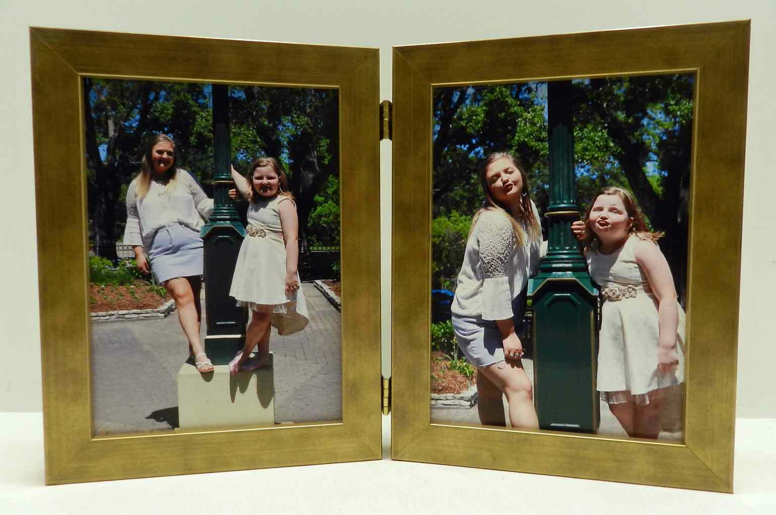 8x10 Antique Gold Double Hinged Vertical Wood Photo Picture