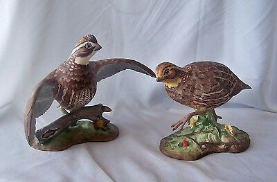 Vintage Pair Boehm Porcelain Bob White Quail Limited Edition Figurines / 407 B