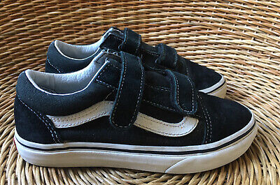 VANS Old Skool Kids Boys Girls Black Two Strap Skate Shoes Trainers UK 2.5 EU 34