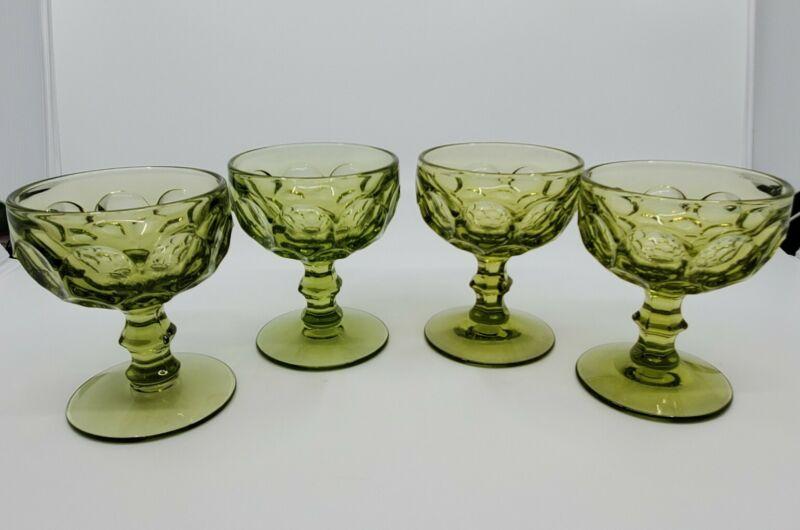 4 Vtg Imperial Glass Provincial Green Thumbprint Sherbet Glasses Mid Century
