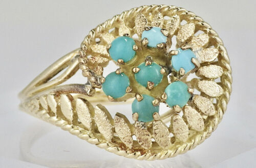 Vintage 14K Yellow Gold Persian Turquoise Cluster Fashion Ring Size 6 1/2