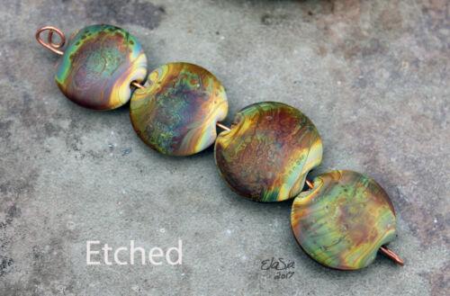 Raku Lentils -  Handmade Glass Lampwork Coin Beads - elasia SRA MTO