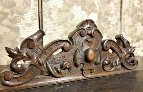 Gothic scroll leaf pierced pediment Antique french wooden architectural salvage