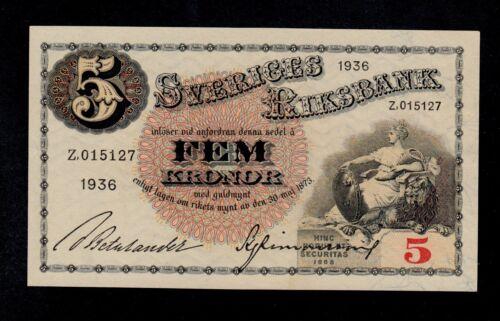 SWEDEN 5 KRONOR 1936 Z PICK # 33s AU-UNC.