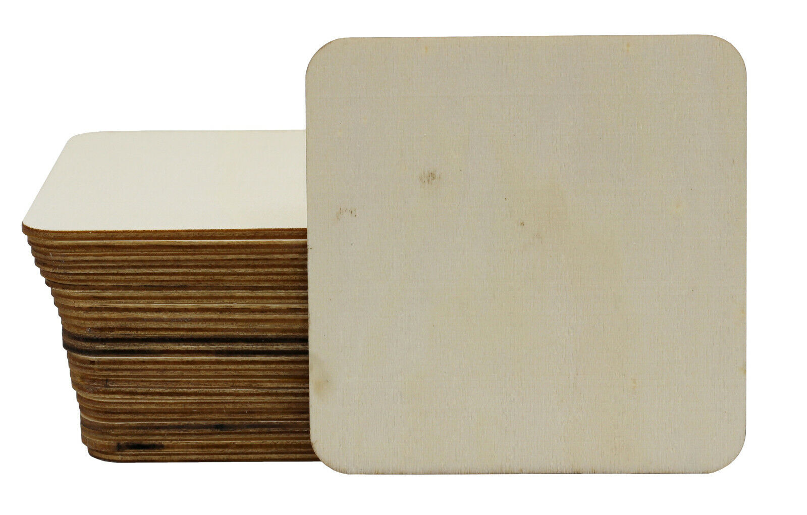 24-Pack Unfinished 4 Inch Wood Sqaure Cutouts for Crafts, Wooden Coasters, DIY Crafting Pieces