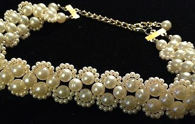 (Elegant Faux Pearl Clusters Choker Collar Necklace Creamy White Lightweight Vgt)