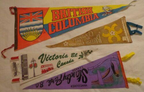 VINTAGE FELT PENNANT LOT 4 SOUVENIR BRITISH COLUMBIA CANADA VANCOUVER CENTENNIAL