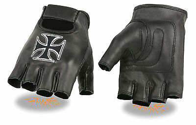 Men's Leather Iron Cross Embroidered Motorcycle Fingerless Glove w/ Gel Palm
