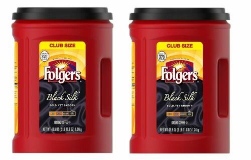 LOT OF 02 Folgers Black Silk Coffee (43.8 oz.) FREE SHIPPING