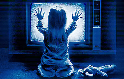 Framed Print - Freaky Poltergeist Girl in Front of TV (Picture Movie Ghost Art) ()