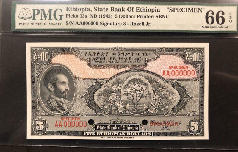 Ethiopia Banknote Specimen. P 13s. EPQ Grade 66