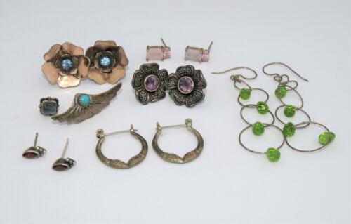 Sterling Silver Earrings Lot 6 Pairs Genuine Stones Amethyst Rose Quartz Garnet