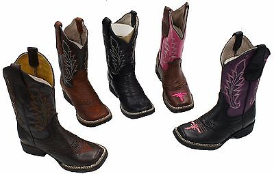 Cowboy Unisex Kids leather square toe rodeo boys western Boots  Best