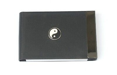 Yin Yang Black Pu And Metal Business Or Credit Card Holder Chinese Gift 406