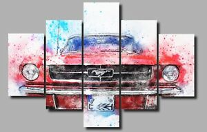 LARGE SPORT CLASSIC CAR FORD MUSTANG CANVAS WALL PICTURE ART MULTI PANEL 0639/5
