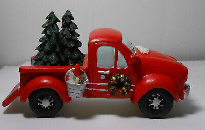 Red Pick Up Truck with Christmas Trees in the Back for Home Decor