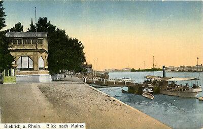 AK Biebrich ca. 1920 (?) Dampferanlegestelle mit Blick mach Mainz / Wiesbaden