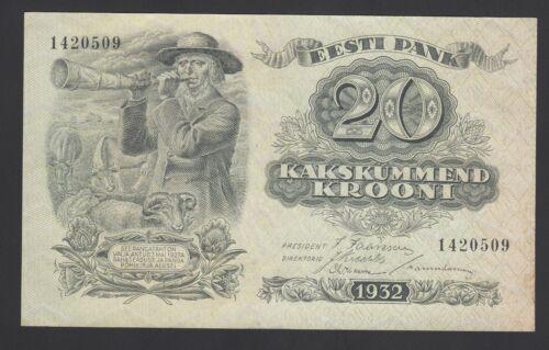 Estonia 20 Krooni 1932  AU  P. 64,  Banknotes, Uncirculated