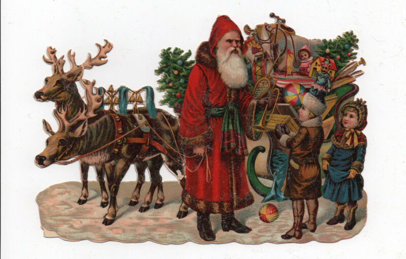 Late 1800's Large Victorian Chromo Scrap - Belsnickel Santa Reindeer Tree Toys