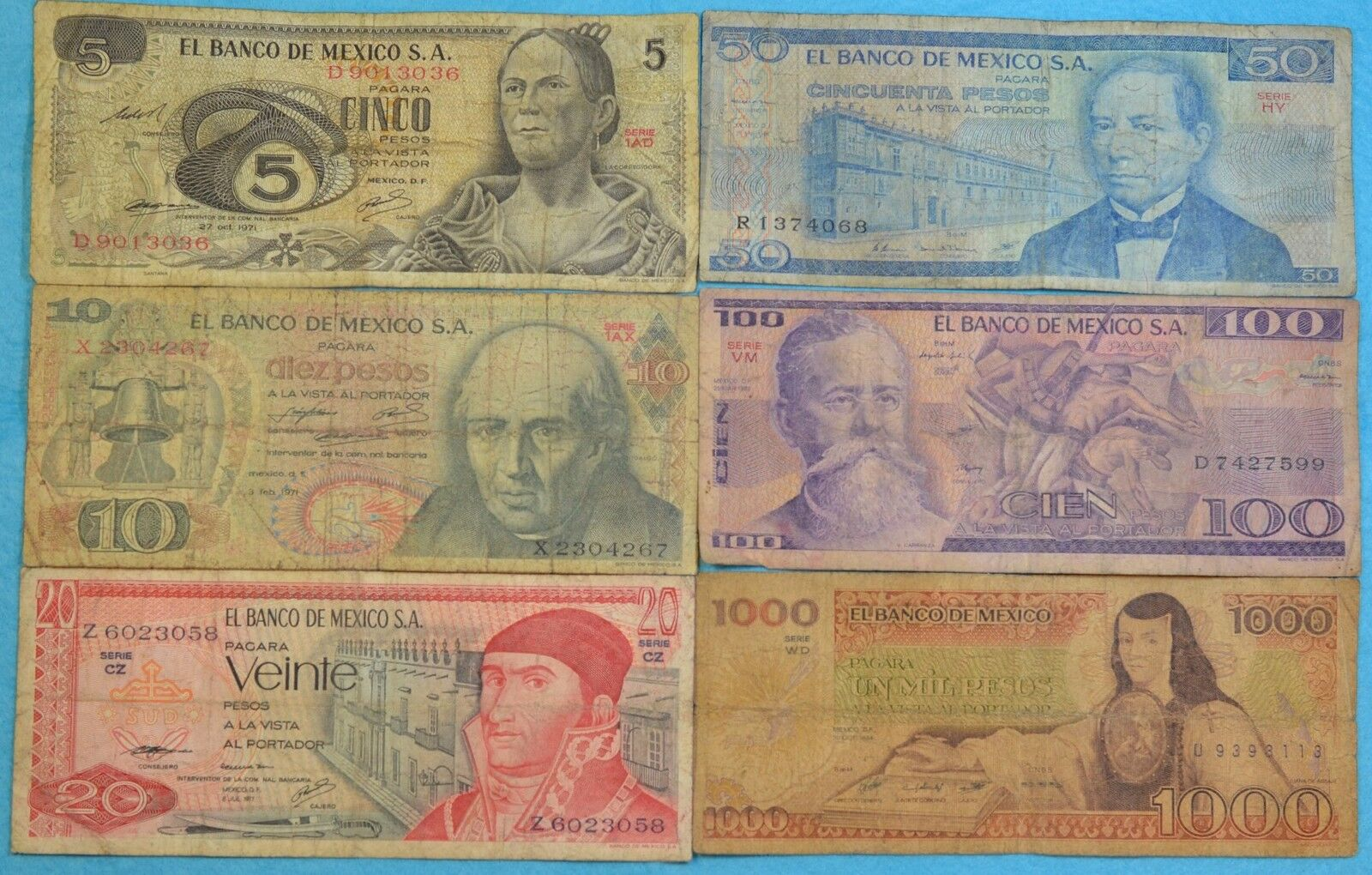 MEXICO SET 6 BANKNOTES LOT PLUS COINS 1970'S 1980'S 5 10 20 50 100 1000 pesos