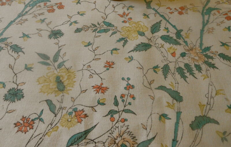 Vintage English Georgian Floral Cotton Fabric ~ Buttery Yellow Apricot Green