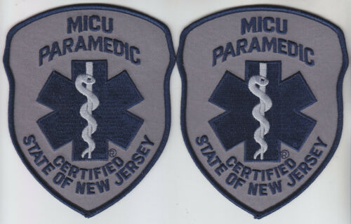 New Jersey MICU PARAMEDIC 2 patches SUBDUED NAVY/GREY NJ Mobile Intensive Care