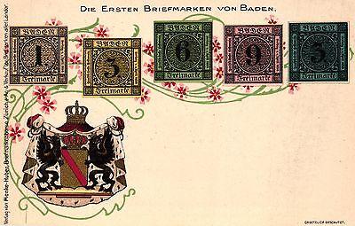 Die Ersten Briefmarken von Baden, Farb-Litho mit Wappen, um 1900/05