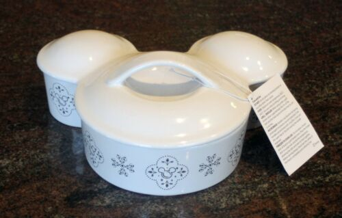 Rare Mickey Mouse Head Shaped Casserole Dish w Elegant Patterns on the Side NEW