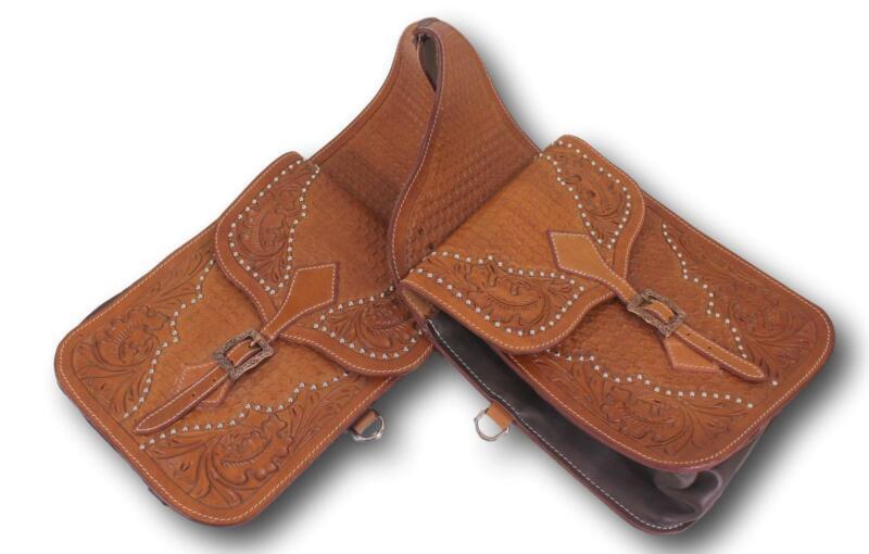 D.A. Brand Premium Tooled  Medium Oil Leather Saddle Bags Horse Tack Equine 007