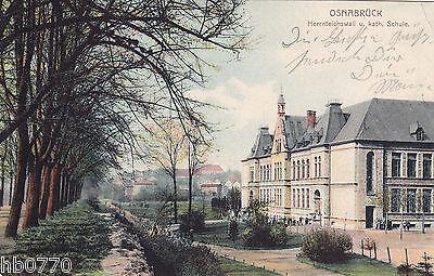 AK Osnabrück. Herrnteichwall u. kath. Schule, gel. nach Berlin Adlershof