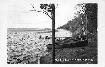Real Photo Postcard Row Boats at Reedy's Resort in Wilkinson, Minnesota~110516