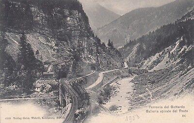 Postkarte - Ferrovia del Gottardo / Galleria spirale del Prato