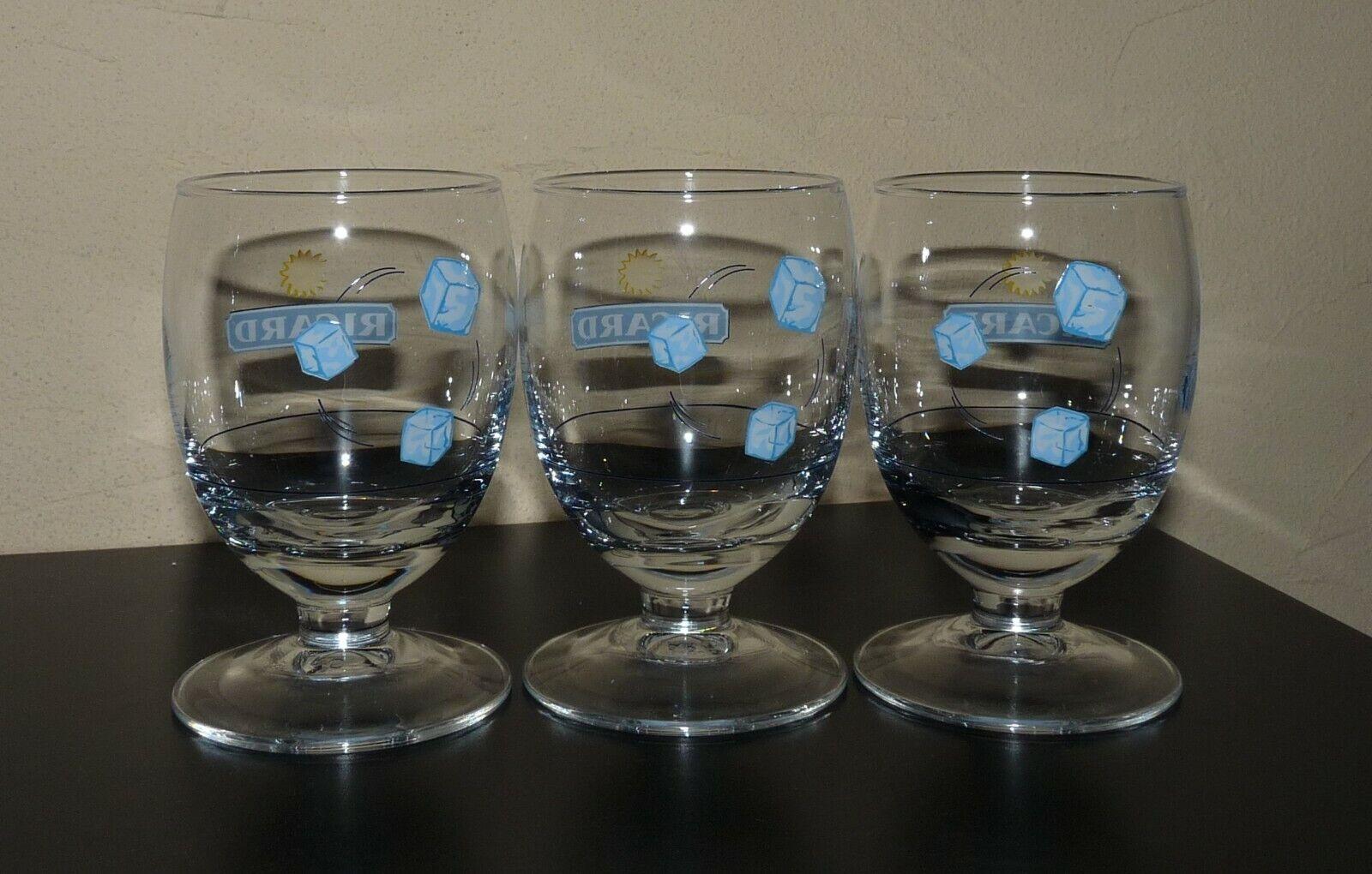 3 verres ballon ricard 3 glacons