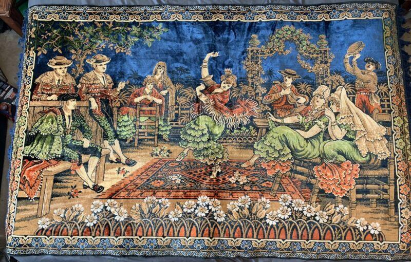 """Fringed Velvet Vintage Textile Tapestry From Spain 49"""" X 82"""""""