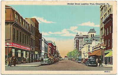 Market Street Looking West In Clearfield Pa Postcard