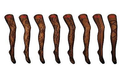 Damen Strumpfhosen mit Muster Damenstrumpfhose Netzstrumpfhose schwarz A2 ()