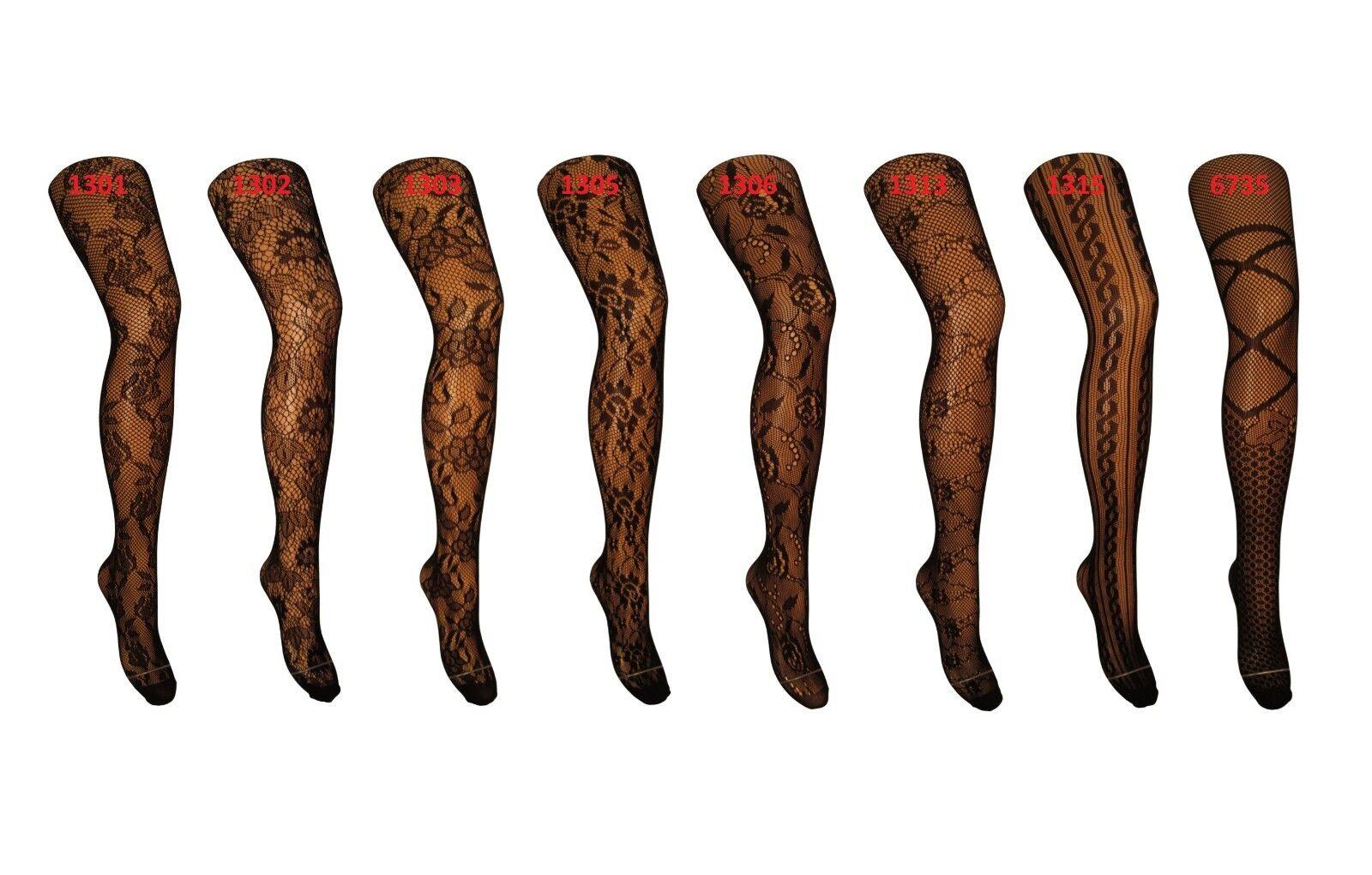 Damen Strumpfhosen mit Muster Damenstrumpfhose Netzstrumpfhose schwarz A2