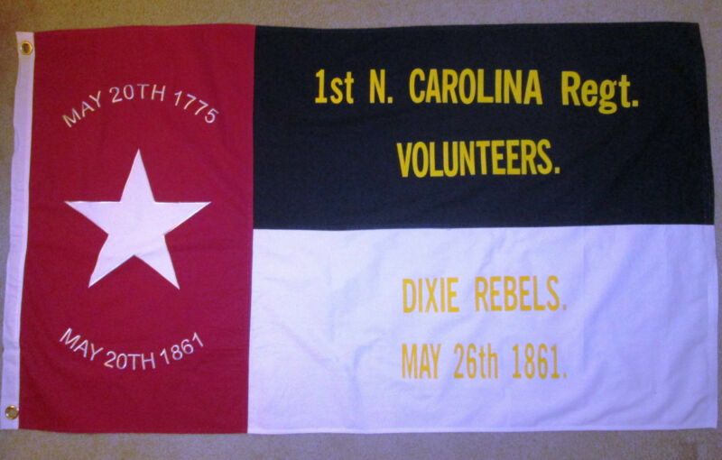 COTTON, Southern American Flag, Civil War Flag, 1st North Carolina, Dixie Rebels