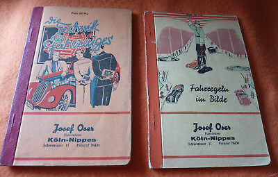 Automobilia Fahrschule Köln Nippes 2 Lehrbücher Schutzmann Polizist Technik etc.