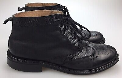 House of Hounds Concept Footwear Black Leather Wingtip Chukka Boot Mens 10.5 44